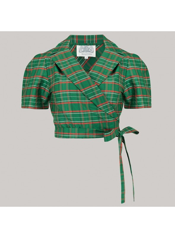 Lucille Blouse in Green Taffeta
