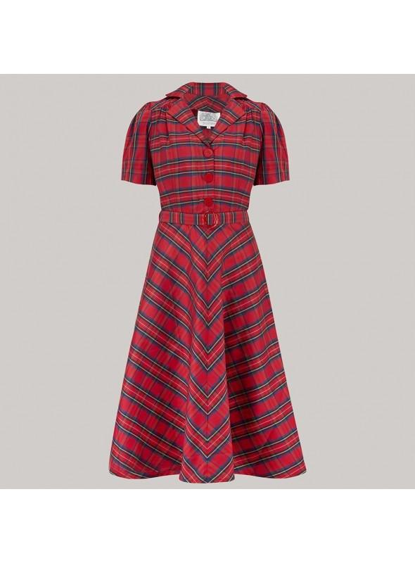 Carole 1940s Dress in Red Taffeta