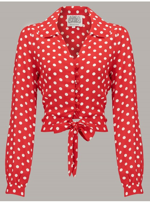 Margaret Blouse in Red and White Spots