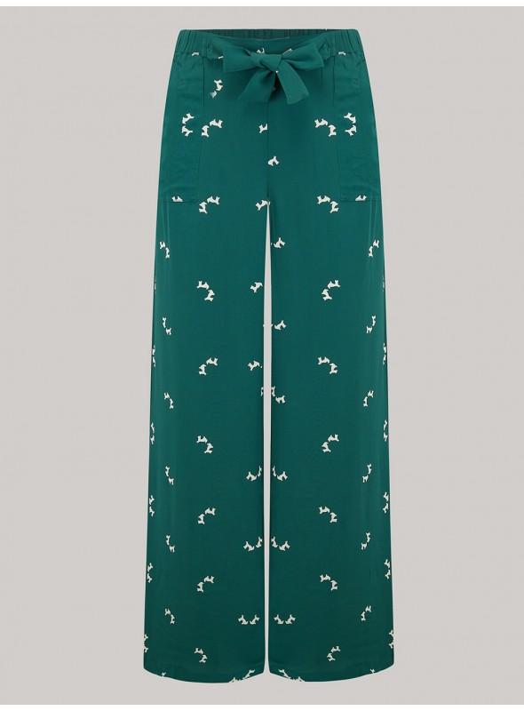 Gretta 1940s Trousers in Green Doggy