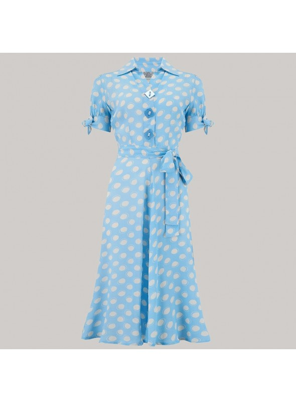 Delores Dress in Sky Blue Bow