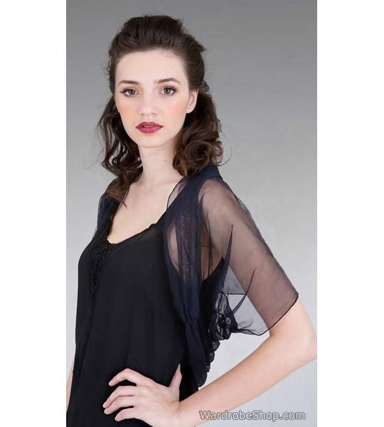 Rouched Tulle Shrug in Black by Nataya