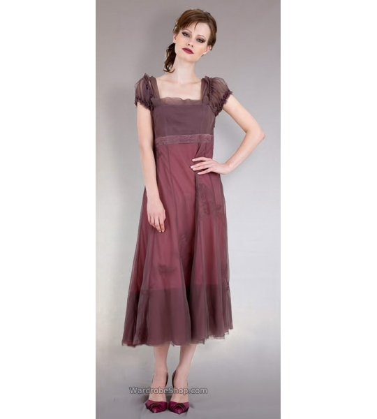 Empire Party Dress in Charcoal/Berry by Nataya - SOLD OUT