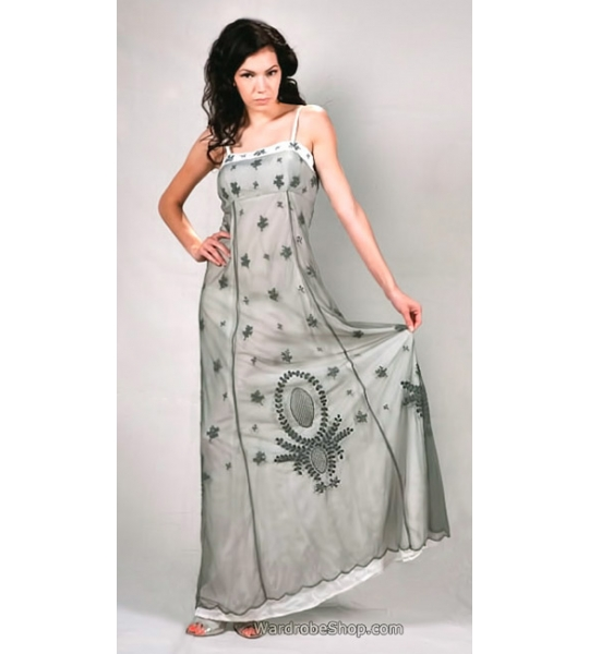 Empire Style Party Dress in Silver/Ivory by Nataya - SOLD OUT