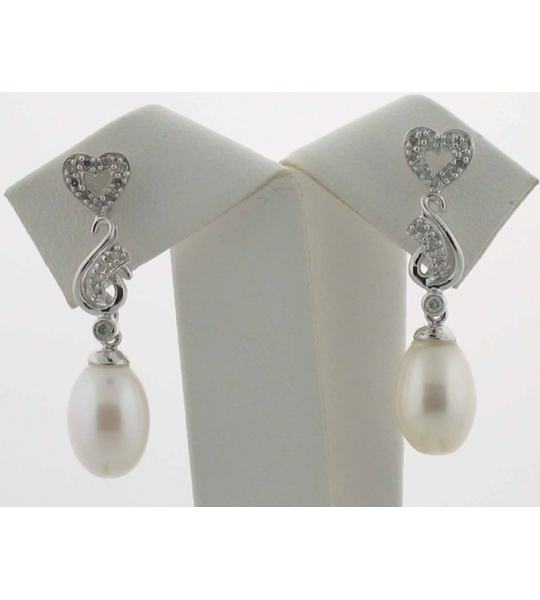Pearl and White Gold Bridal Earrings - SOLD OUT