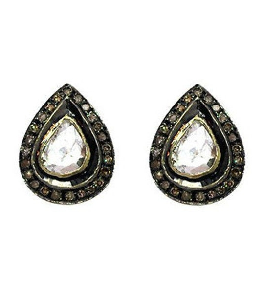 SuratKarat Victorian Rose Cut Diamond & Polki Earrings - WSE14004