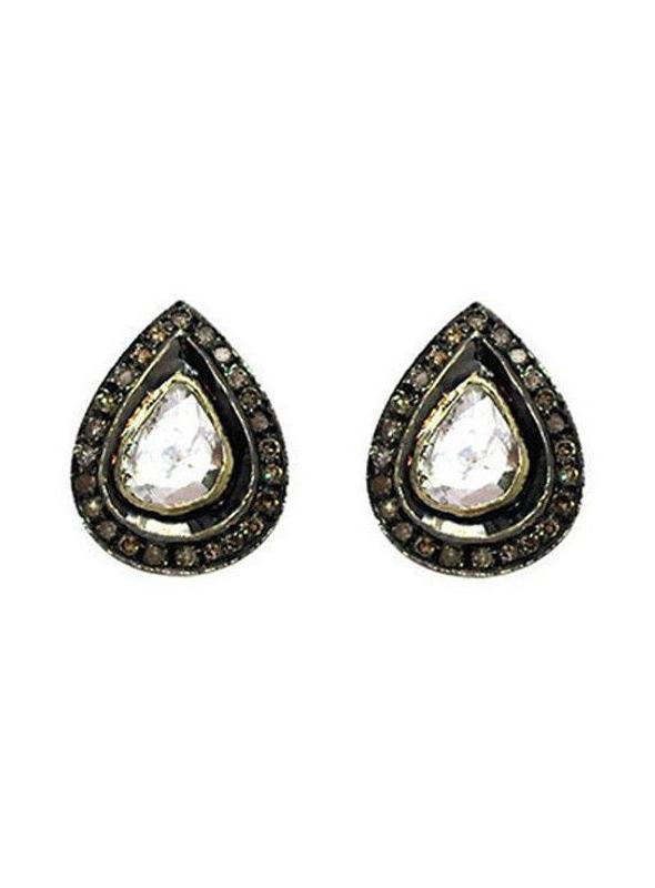 SuratKarat Victorian Rose Cut Diamond & Polki Earrings - WSE14004