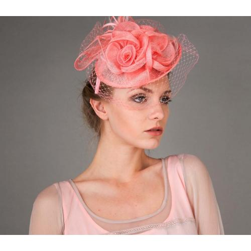 Peach Floral Sinamay Fascinator Headband in Peach