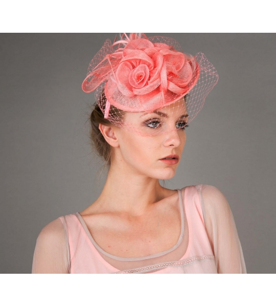 Peach Floral Sinamay Fascinator Headband in Peach