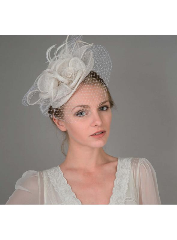 Peach Floral Sinamay Fascinator Headband in White