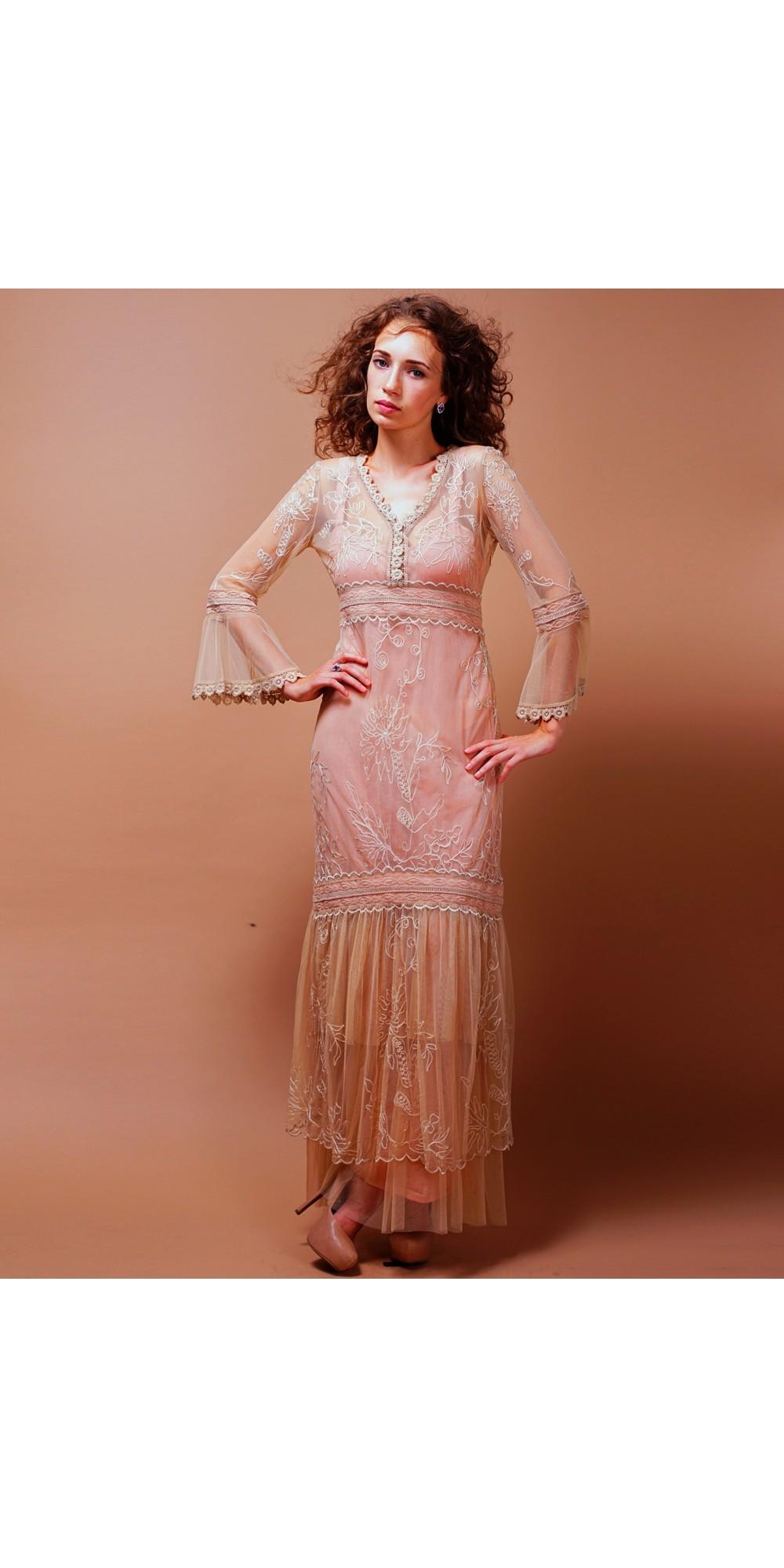 Titanic Empire Waist Wedding Dress in Pink-Champagne by Nataya