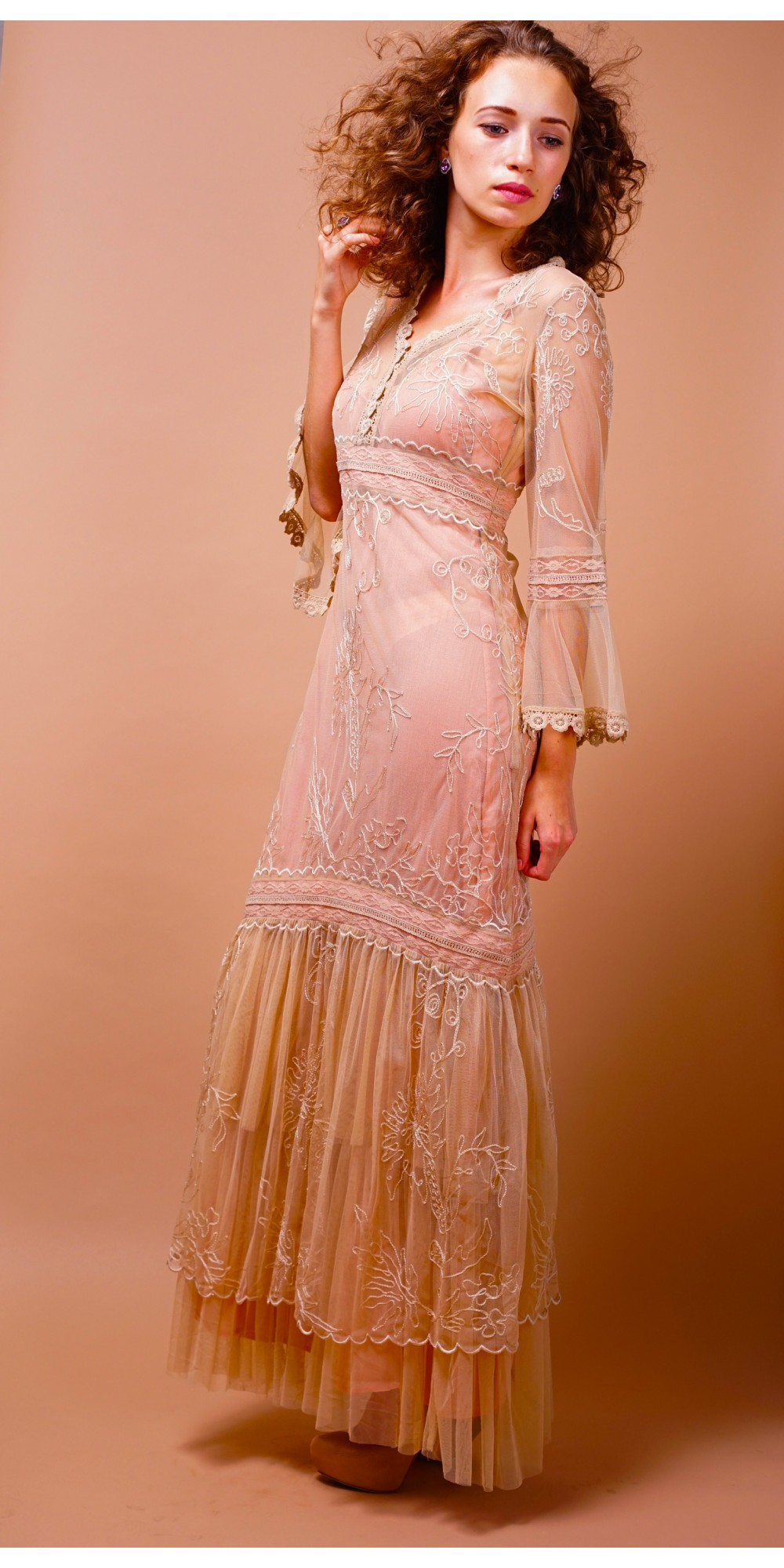 Titanic Empire Waist Wedding Dress in Pink-Champagne by Nataya