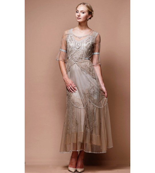 Edwardian Vintage Inspired Wedding Dress in Sand/Silver by Nataya