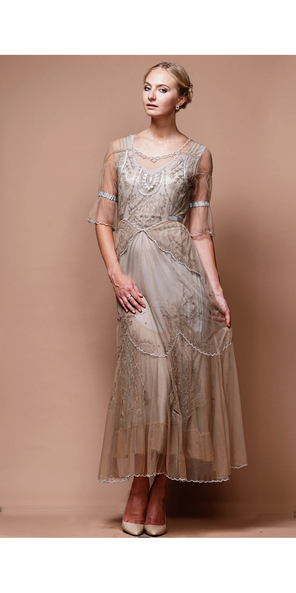 Edwardian Vintage Inspired Wedding Dress in Sand-Silver by Nataya