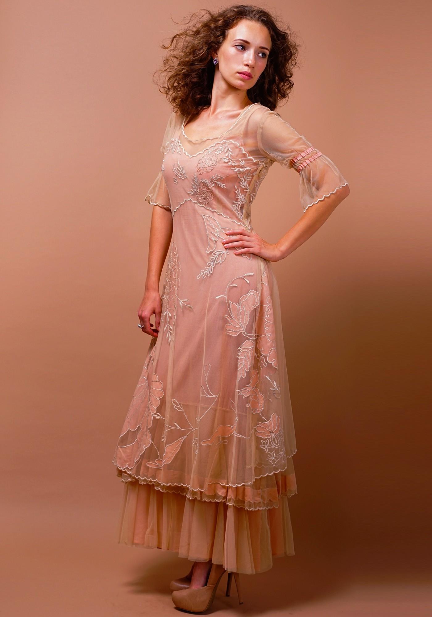 Titanic Tiered Vintage Wedding Dress in Pink-Champagne by Nataya