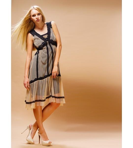 Bohemian Vintage Inspired Dress in Black/Beige by Nataya