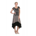 Embroidered Ruffled Vintage Inspired Dress in Black/Beige by Nataya - SOLD OUT