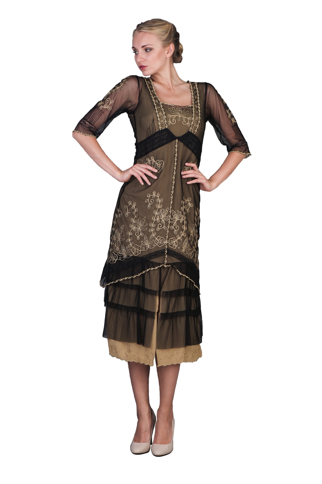 Titanic Tea Party Dress in Black Gold by Nataya