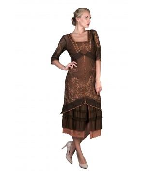Titanic Tea Party Dress in Terracotta by Nataya