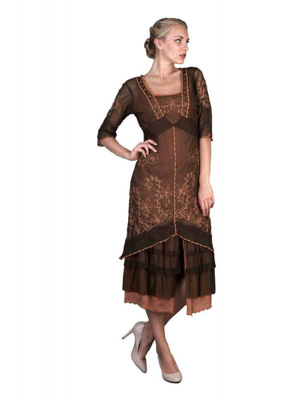 Titanic Tea Party Dress in Terracotta by Nataya