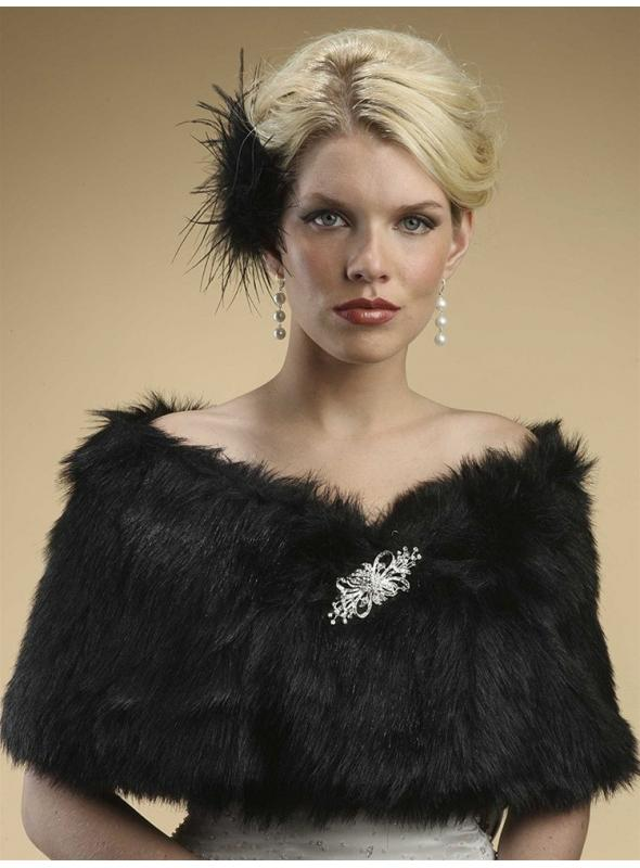 Faux Fur Shawl with Jet Black Fox