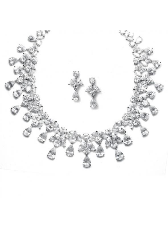 Spectacular Hollywood Cubic Zirconia Statement Bridal Neck Set