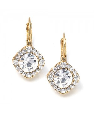 Tailored Crystal Solitaire Gold Drop Earrings