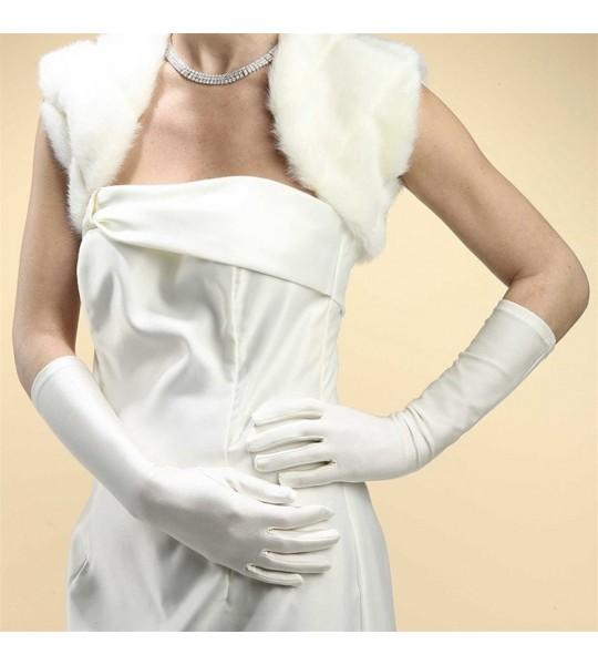 Below Elbow Wedding or Prom Gloves in Matte Satin