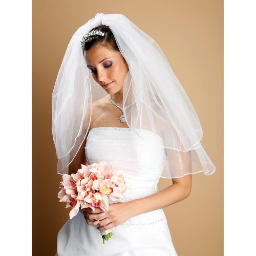 Two Layer Wedding Veils with Rounded Satin Cord Edge
