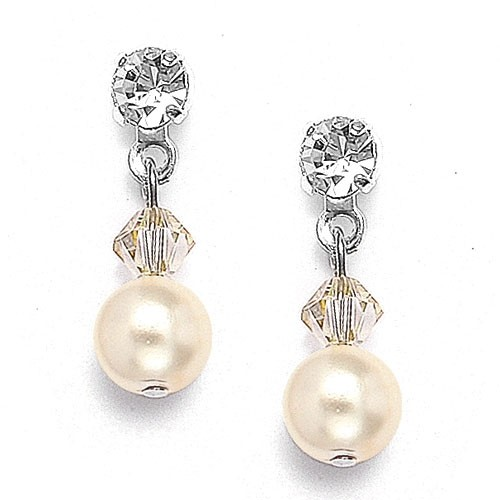 Classic Pearl & Crystal Drop Earrings for Brides or Second Time Around Brides - White - Pierced