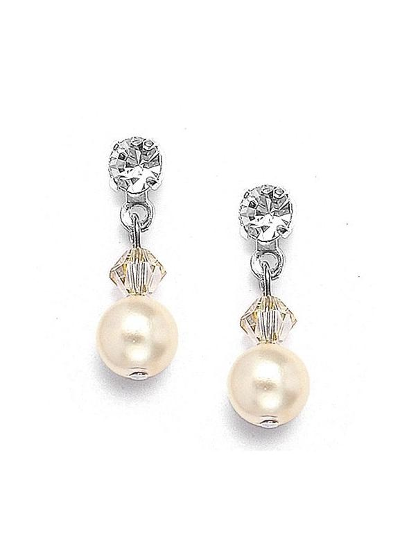Classic Pearl & Crystal Drop Bridal or Bridesmaids Earrings - White - Pierced