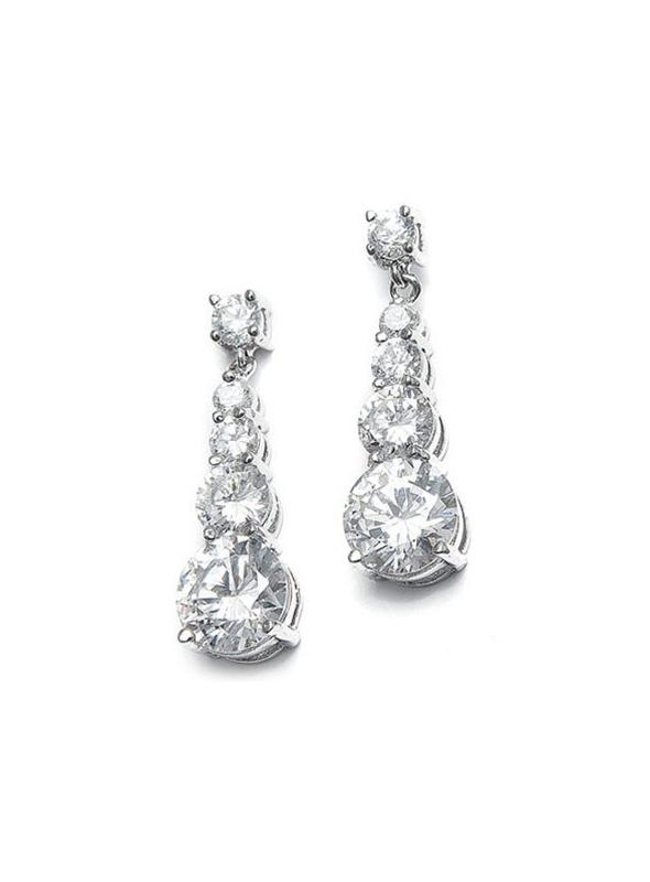 CZ Graduated Dangle Bridal Earrings