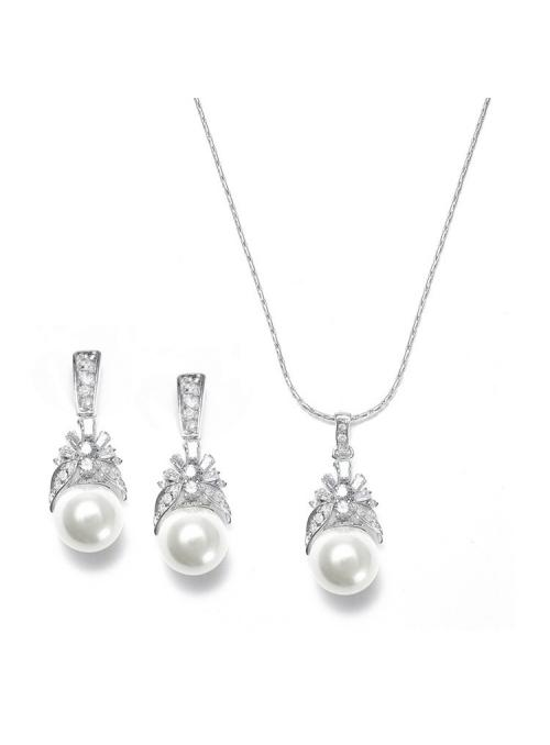 Pearl and CZ Baguettes Necklace Set