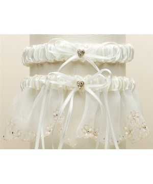 Bridal Garter Set with Inlaid Crystal Hearts - Ivory