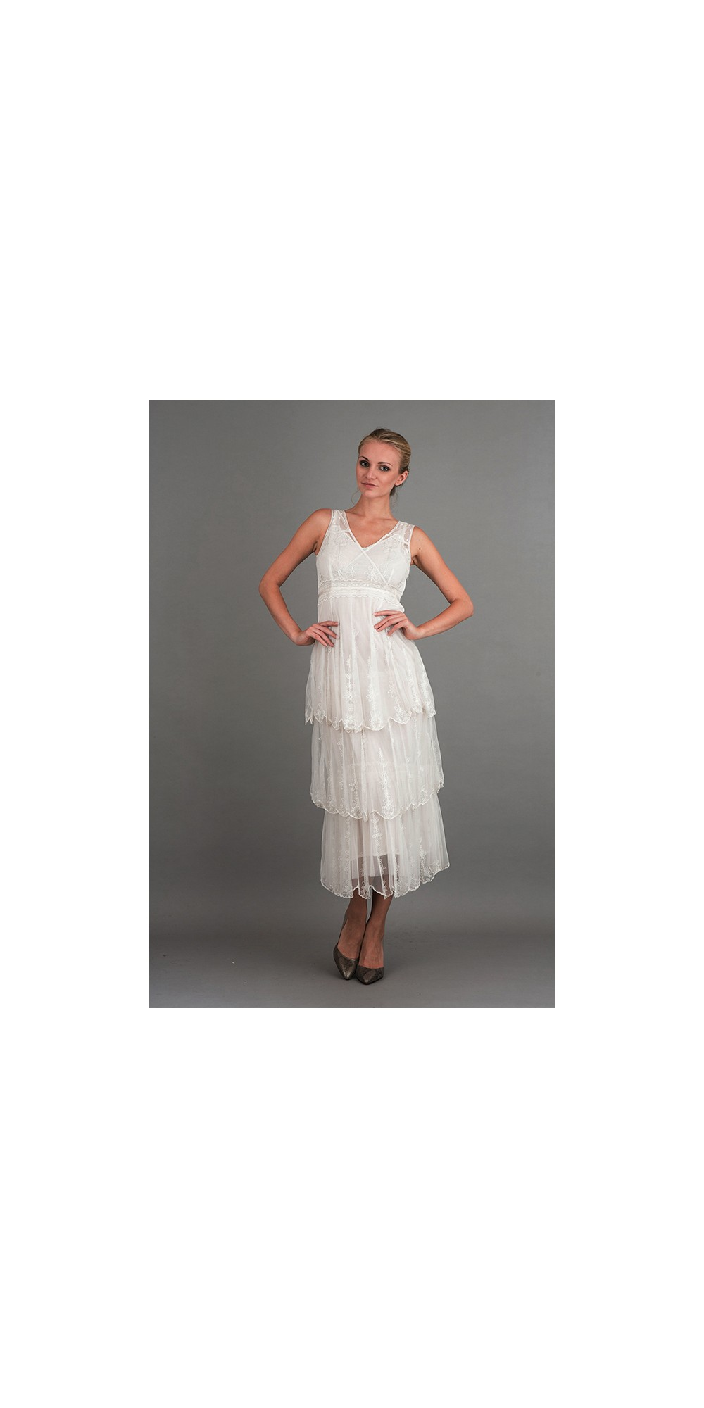 Vintage Inspired Empire Waist Party Dress In Ivory By Nataya