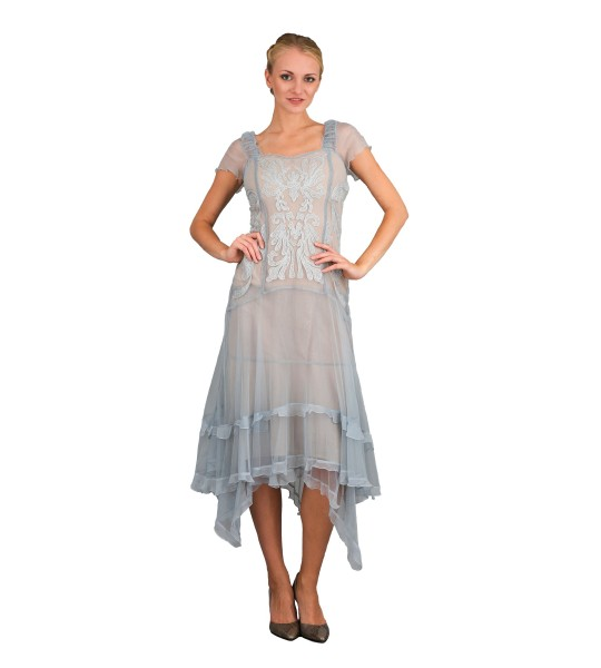 Romantic Vintage Inspired Party Dress in Blue by Nataya