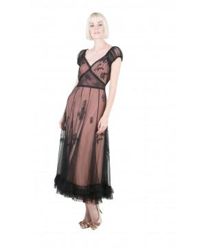 Ballerina Tea Party Dress in Black/Rose by Nataya