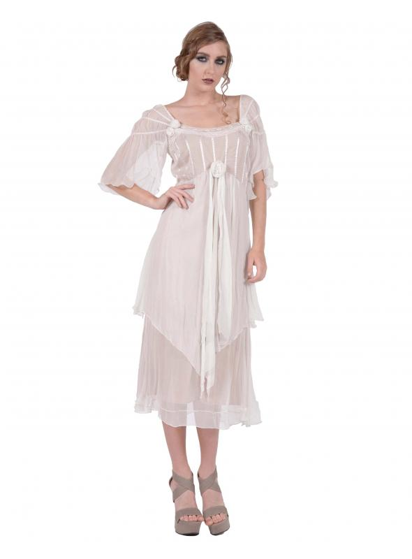 Othelia Off-Shoulder Summer Party Dress in Ivory/Tea by Nataya