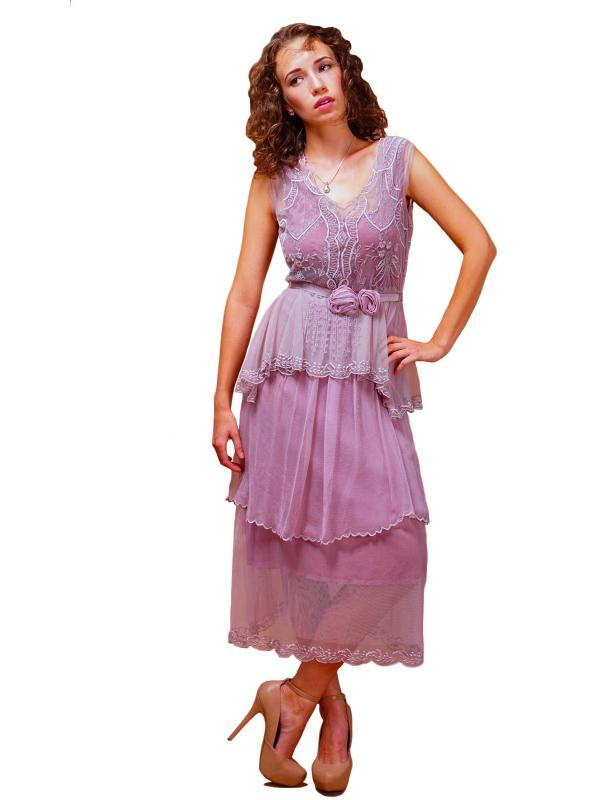 Vintage Inspired Tiered Tea Party Dress in Lavender/Rose by Nataya