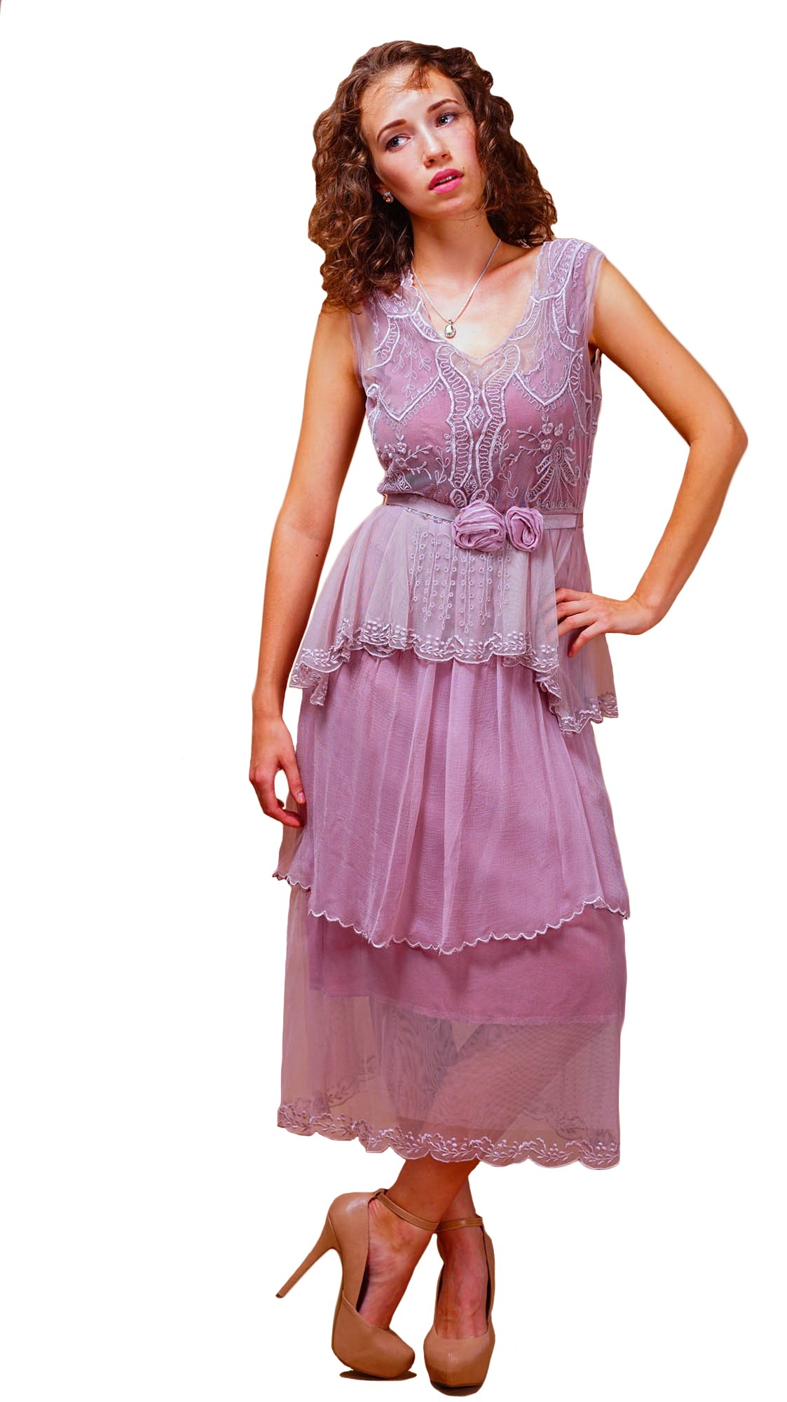 Vintage Inspired Tiered Tea Party Dress in Lavender-Rose by Nataya