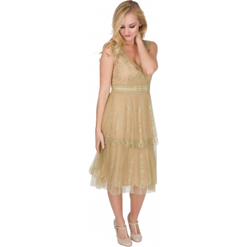 Gianna Vintage Style Party Dress in Sage by Nataya