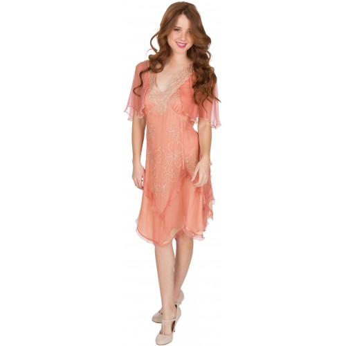 Jacqueline Vintage Style Party Dress in Rose/Gold by Nataya