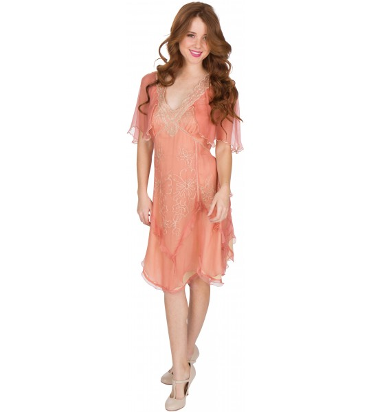 Jacqueline AL-241 Vintage Style Party Dress in Rose/Gold by Nataya