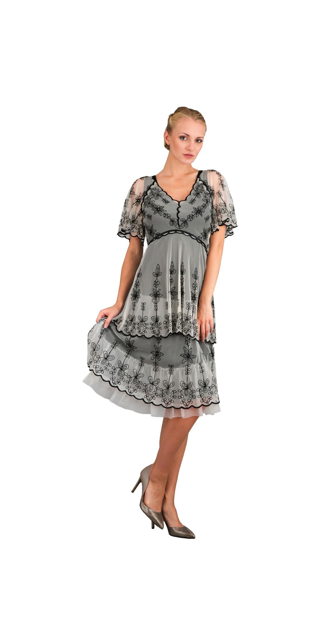 Romantic 40251 Vintage Style Short Dress In Black Ivory Nataya