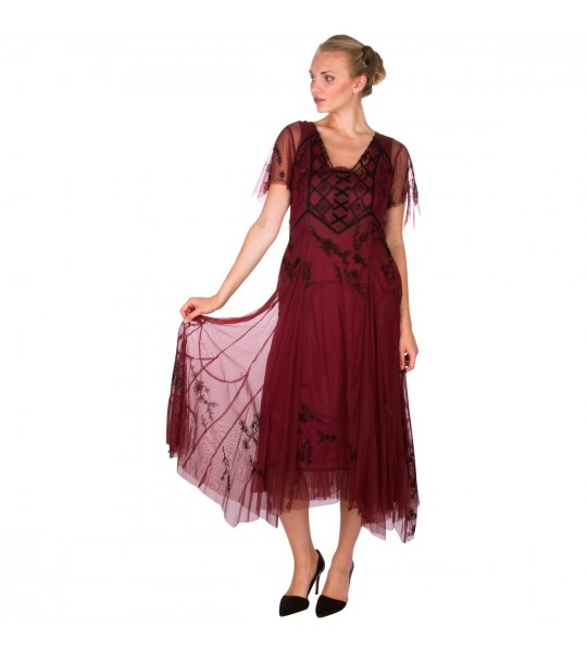 "40262 ""Catalina"" Vintage Inspired Party Dress in Wine by Nataya"