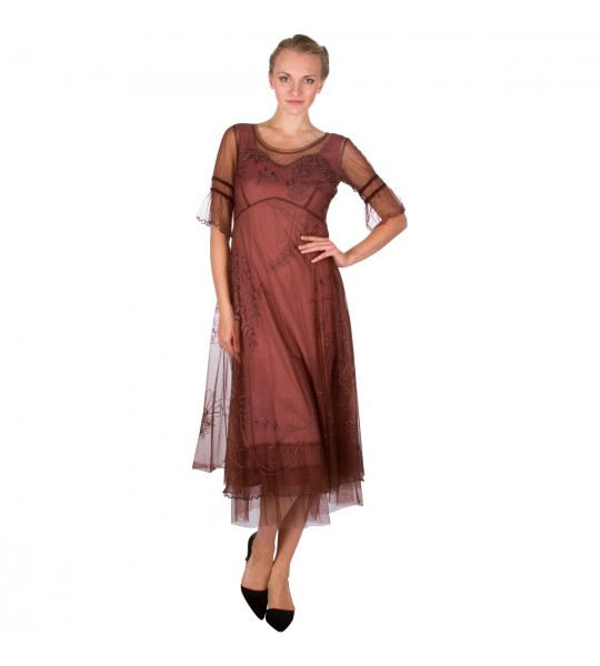 """Autumn Caprice"" Vintage Inspired Party Dress in Opal by Nataya"