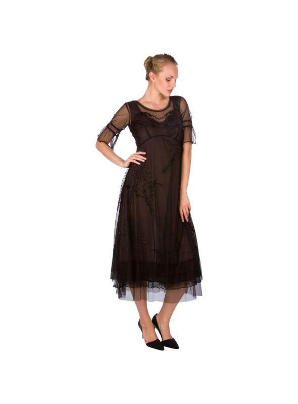 """Autumn Caprice"" Vintage Inspired Party Dress in Black by Nataya"
