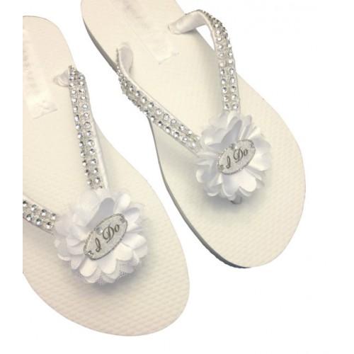 """""""I Do"""" Vintage Style Bridal Flip Flops"""