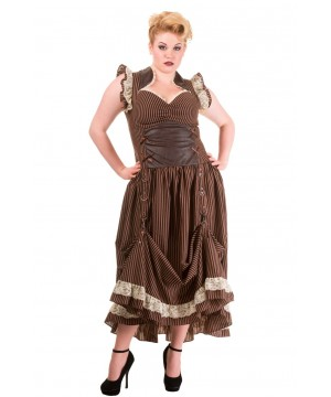 Victorian Steampunk Dress in Stripe