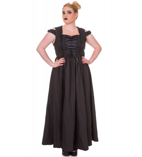 Victorian Corset Style Sleeveless Black Maxi Dress